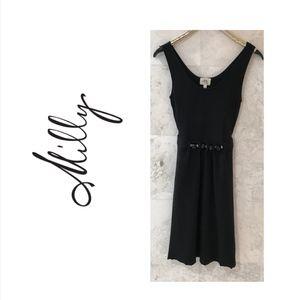 Milly {S} Cocktail Dress Black Sleeveless Midi